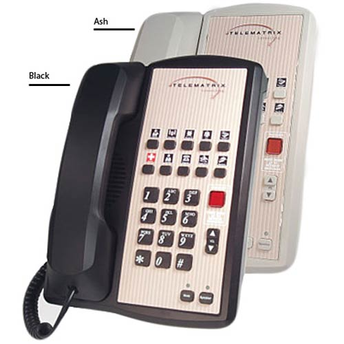 Telematrix 2802MWD B 2-Line Hospitality Speakerphone with 10 Guest Service  Buttons - Black