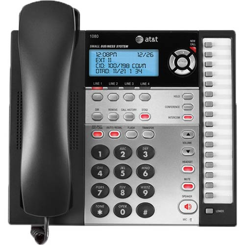 AT&T 1080 4-Line Speakerphone with Answering System, Caller ID & Audio Attendant